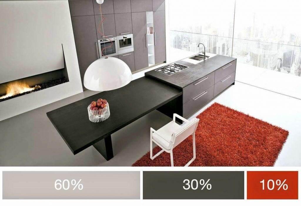 Không gian nội thất với bảng màu 3 màu