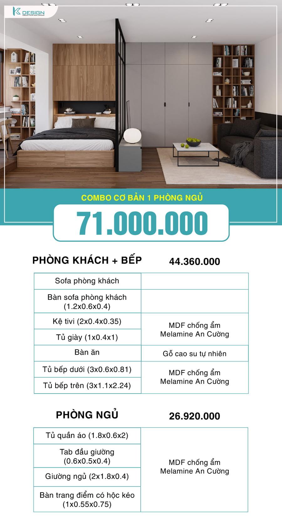 combo nội thất 1 phòng ngủ 71 triệu