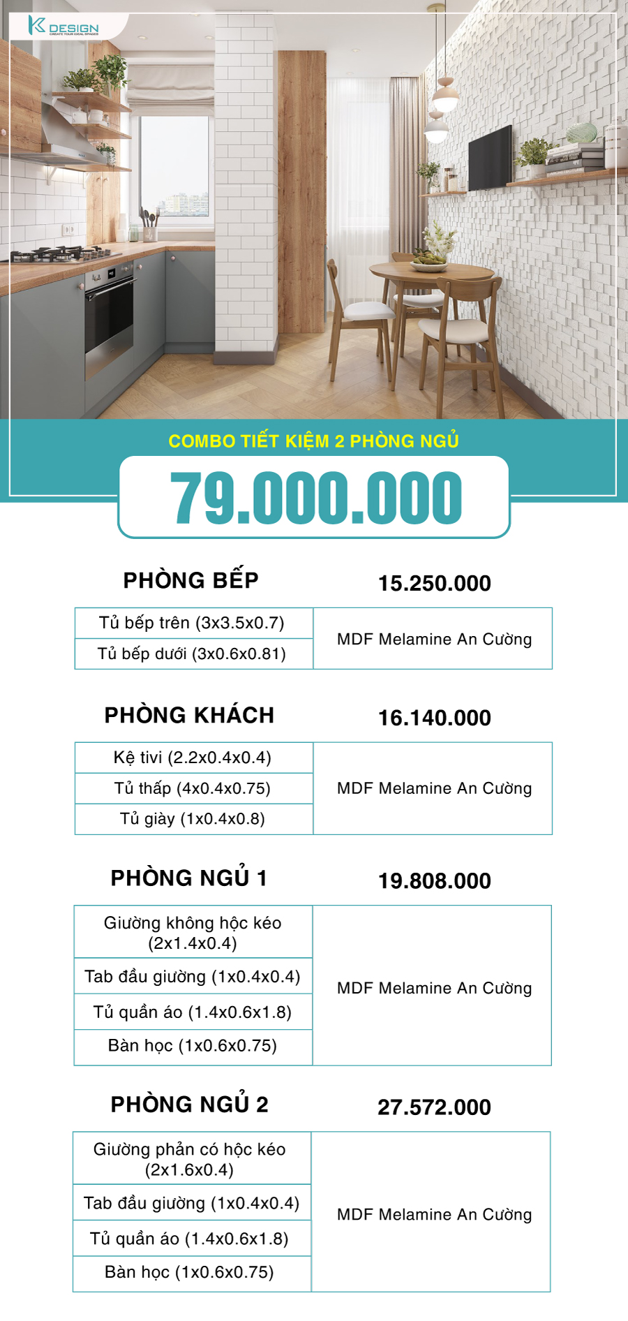 combo nội thất 2 phòng ngủ 79 triệu