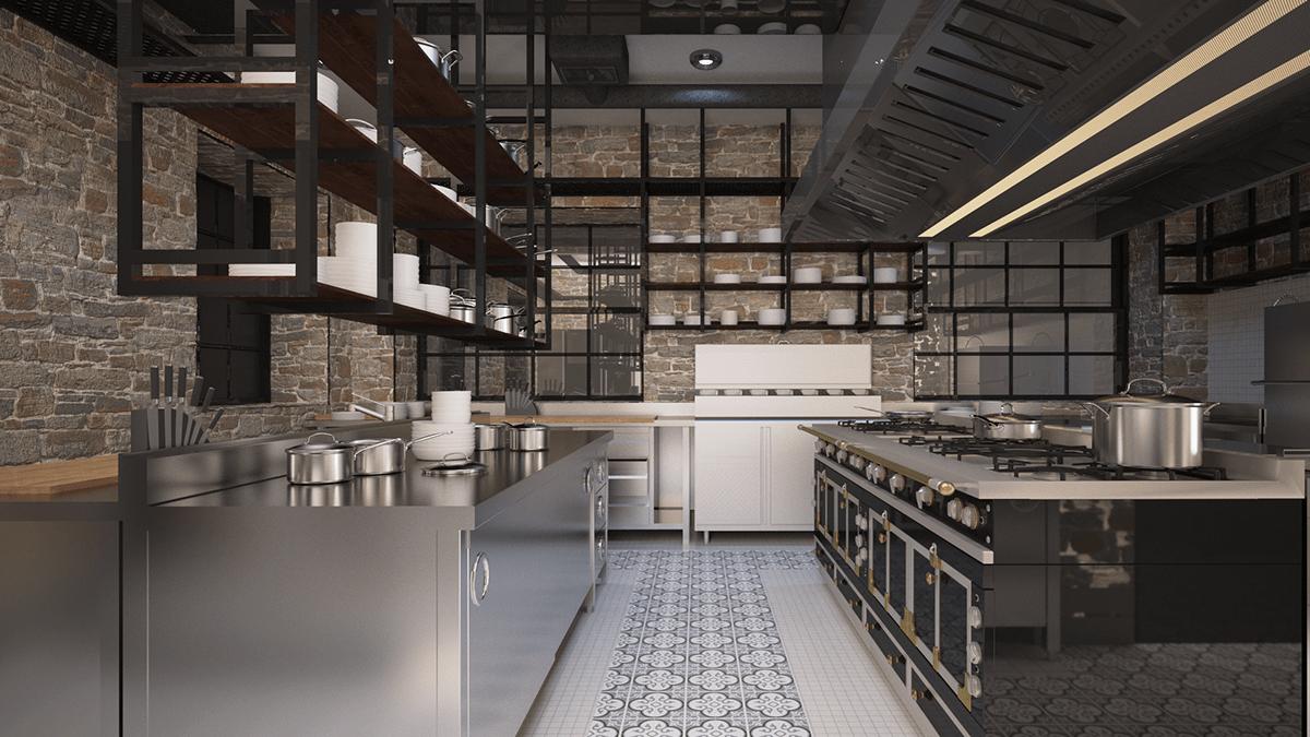 khu vực bếp nấu