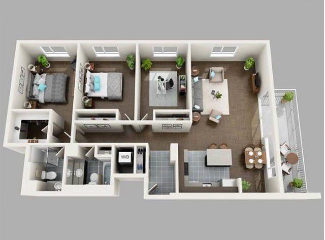 thiết kế mặt bằng nội thất 2 phòng ngủ 1 phòng làm việc