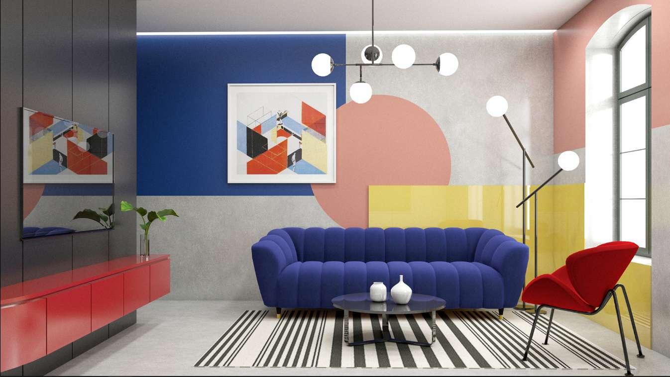 Mẫu thiết kế phòng khách color block