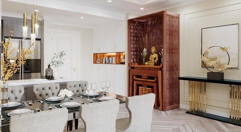 thiết kế bàn thờ phòng khách căn hộ chung cư