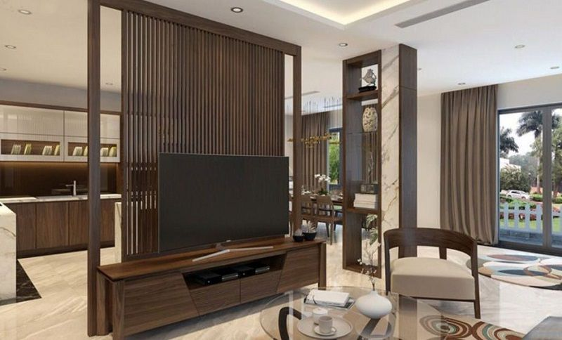 mẫu thiết kế vách ngăn phòng khách và bếp