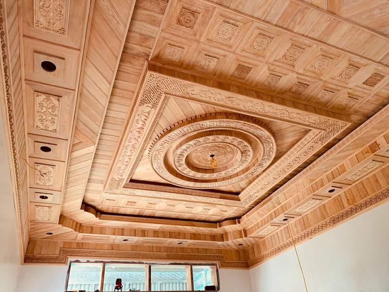 vách gỗ ốp tường phòng khách