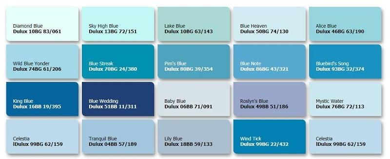 bảng tone màu xanh dương