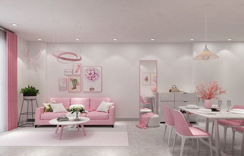 phòng khách màu hồng