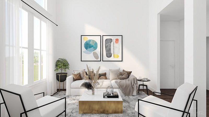 phòng khách màu trắng
