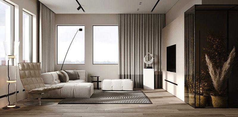 phòng khách màu trắng xám