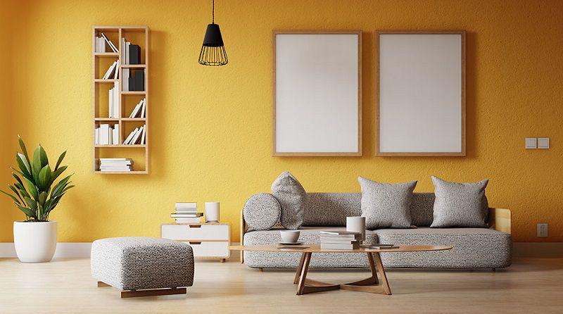 phòng khách màu vàng