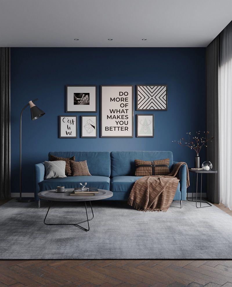 phòng khách màu xanh lá