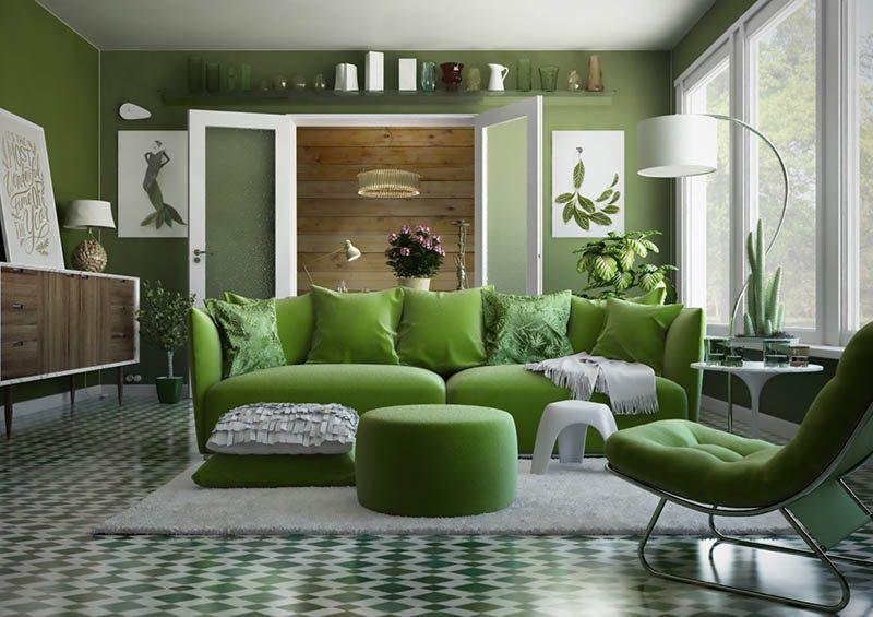 phòng ngủ màu xanh lá