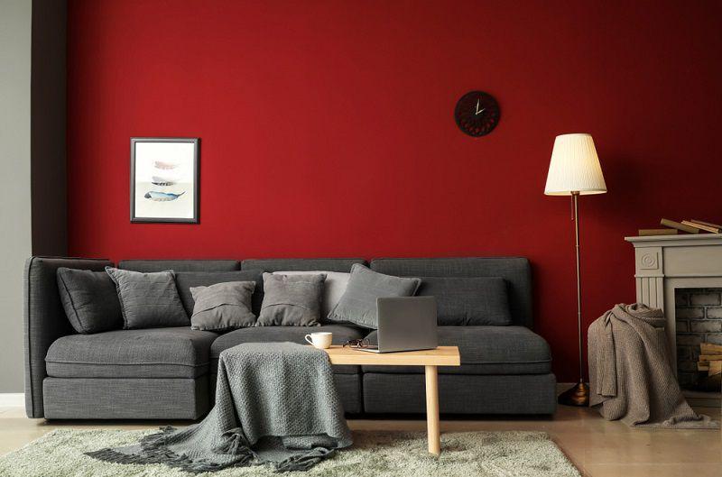 phòng khách mệnh hỏa màu đỏ