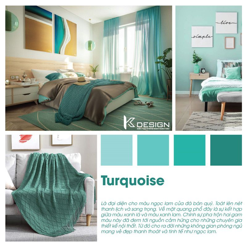 phòng ngủ màu lục lam turquoise