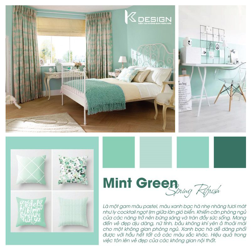 phòng ngủ màu xanh bạc hà mint green