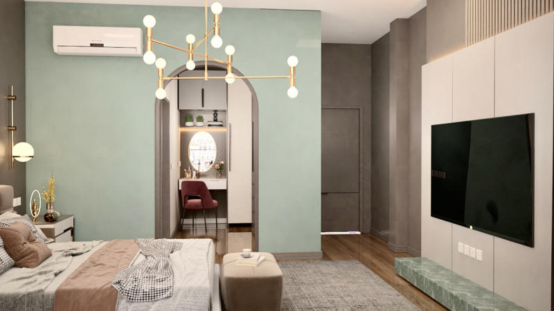 phòng ngủ màu xanh hemlock