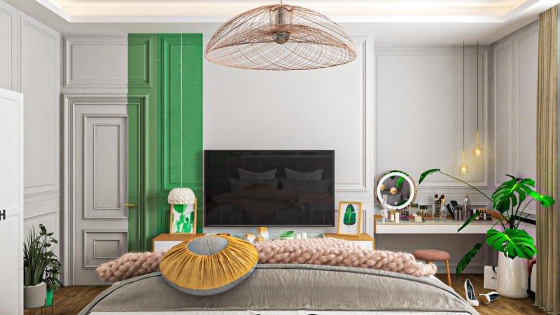 Phòng ngủ màu xanh lá cây