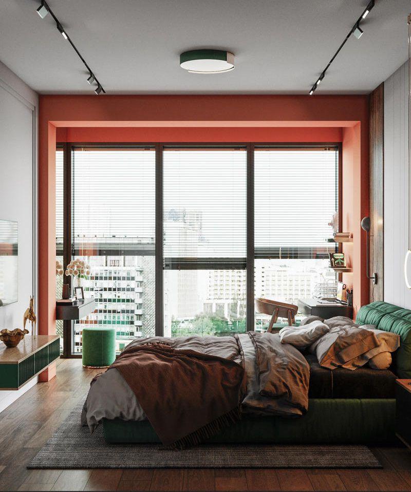 Phòng ngủ màu xanh tươi sáng vivid green