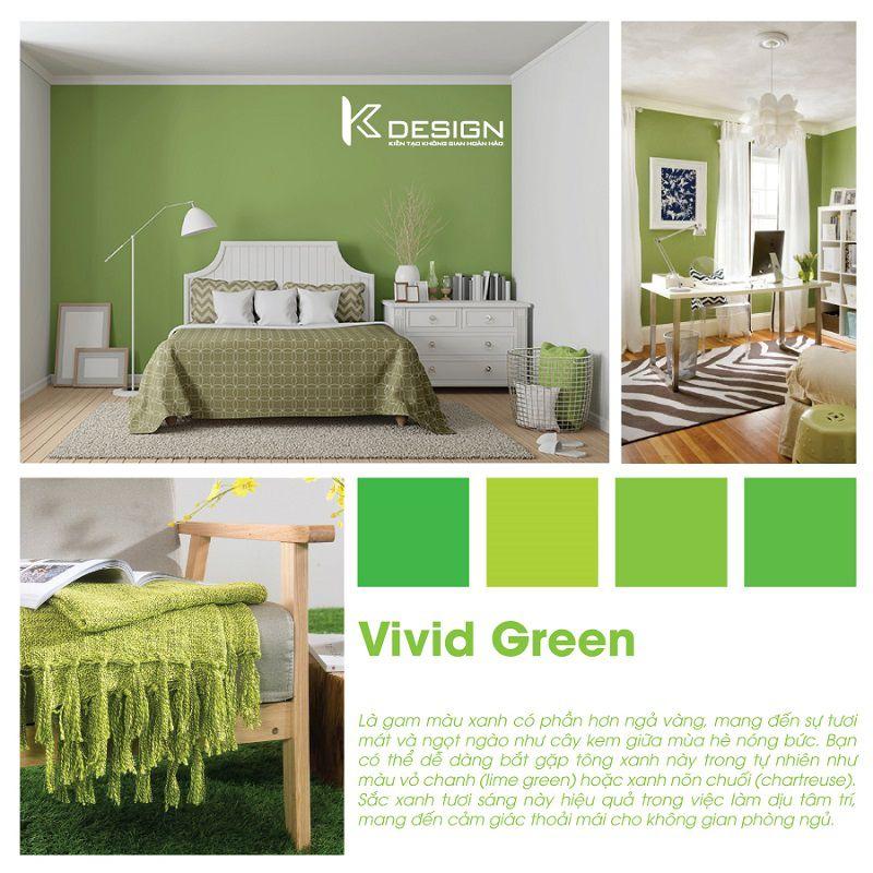 phòng ngủ màu xanh tươi sáng vivd green