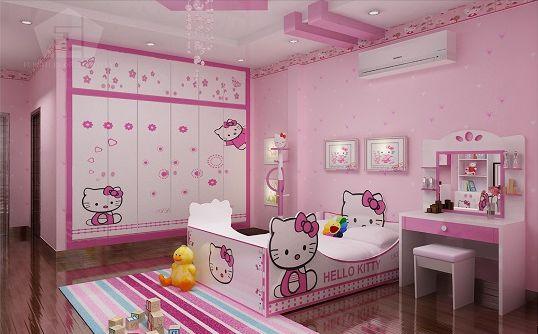 phòng ngủ màu hồng hello kittty