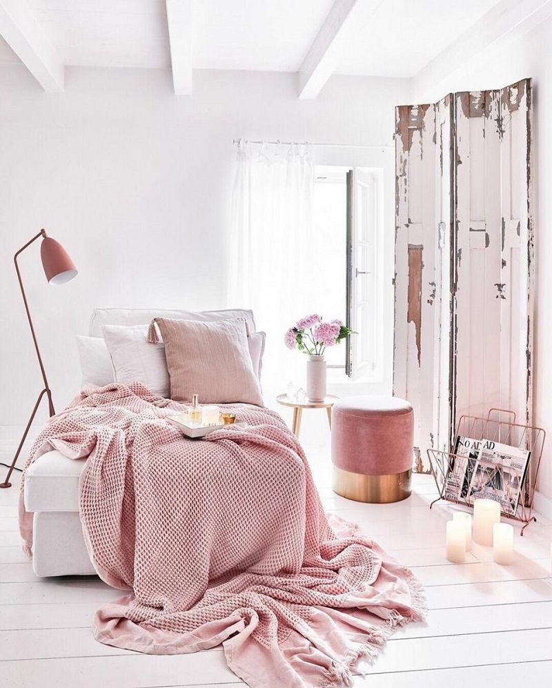 phòng ngủ màu hồng pastel