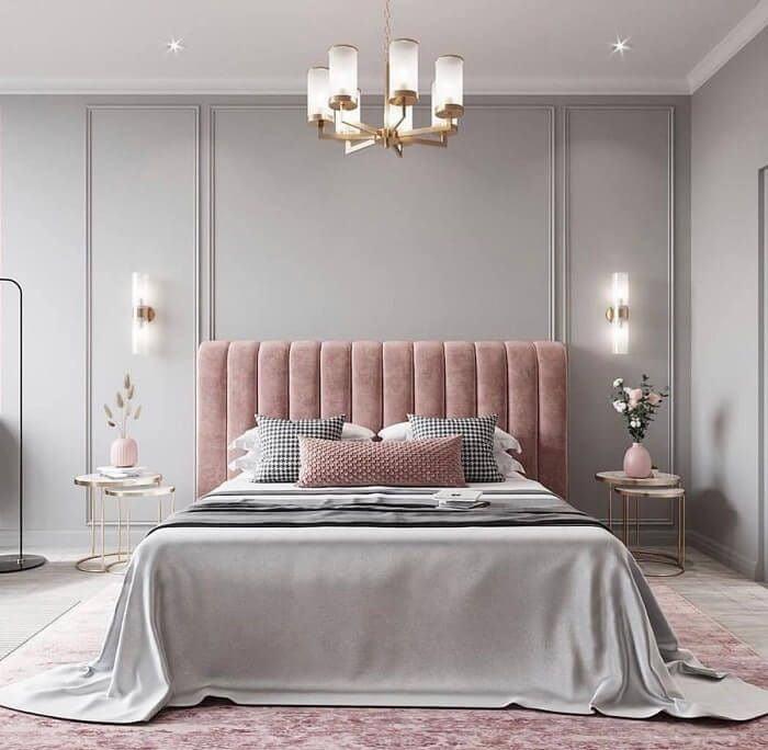 phòng ngủ màu hồng xám