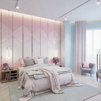 phòng ngủ tông màu hồng