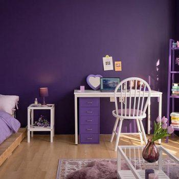 phòng ngủ tông màu tím
