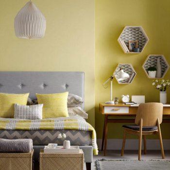 phòng ngủ tông màu vàng