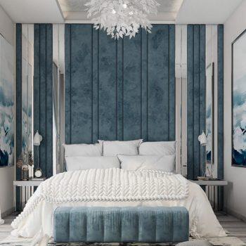 phòng ngủ tông màu xanh dương