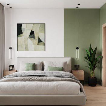 Phòng ngủ tông màu xanh lá cây