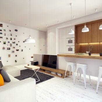 thiết kế phòng khách liền bếp