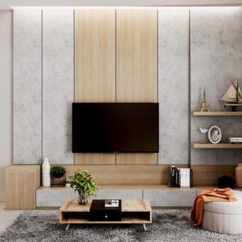 mẫu kệ tivi kèm tủ trang trí