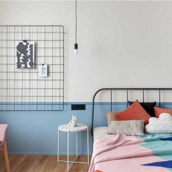 mẫu phòng ngủ vợ chồng theo phong cách color block