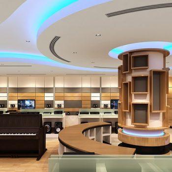 mẫu thiết kế cửa hàng nhạc cụ