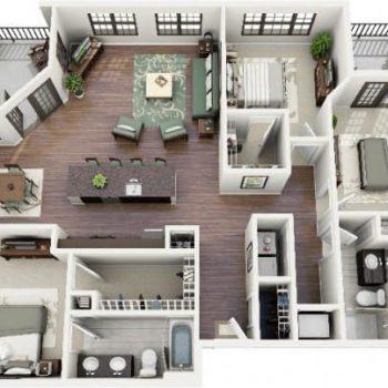 mặt bằng nội thất căn hộ chung cư 3 phòng ngủ hiện đại