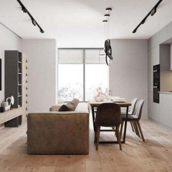 mẫu trang trí phòng khách liên thông với bếp