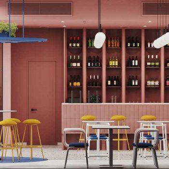 quán cafe theo phong cách color block
