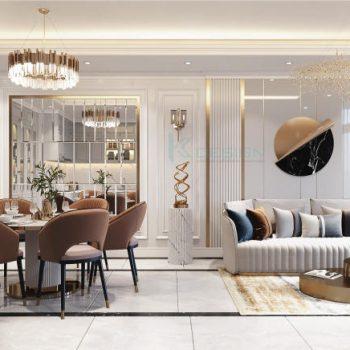 phòng khách bếp căn hộ paris
