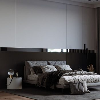 phòng ngủ màu trắng đen