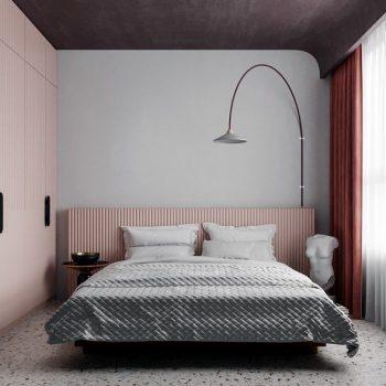 phòng ngủ màu trắng hồng