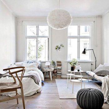 phòng ngủ màu trắng phong cách bắc âu