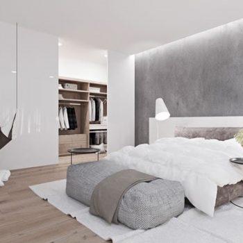 phòng ngủ màu trắng xám