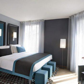phòng ngủ màu xám xanh