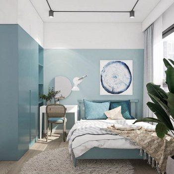phòng ngủ màu xanh dương nhạt