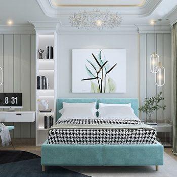 phòng ngủ màu xanh ngọc bích