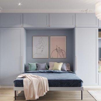 phòng ngủ màu xanh pastel