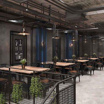 thiết kế nội thất nhà hàng theo phong cách công nghiệp