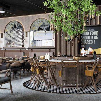 thiết kế nội thất nhà hàng theo phong cách hiện đại