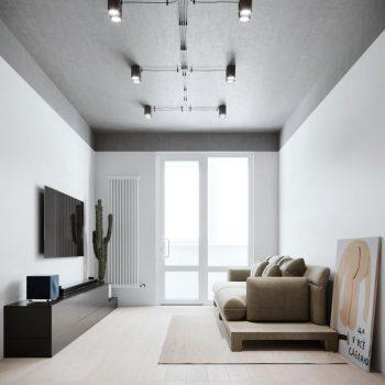 thiết kế nội thất phòng khách chung cư tối giản